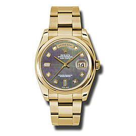 Rolex Day-Date President Yellow Gold Dark Mother of Pearl Diamond Dial 36mm Watch