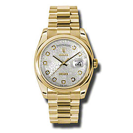 Rolex Day-Date President Yellow Gold Silver Jubilee Diamond Dial 36mm Watch