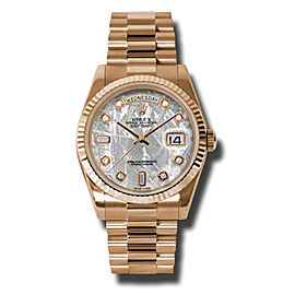 Rolex Day-Date President Rose Gold Meteorite Dial 36mm Watch