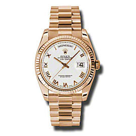 Rolex Day-Date President Rose Gold White Dial 36mm Watch