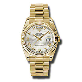 Rolex Day-Date President Yellow Gold Mother of Pearl Dial 36mm Watch