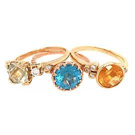 14k Yellow Gold 3 Set Topaz Ring