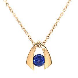 14k Yellow Gold Iolite Gemstone Pendant Necklace