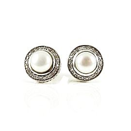 David Yurman Petite Cerise Sterling Silver .29tcw Pearl, Diamond Earrings