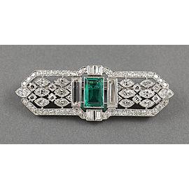 Tiffany & Co. Platinum Emerald Diamonds Vintage Art Deco Brooch Pin