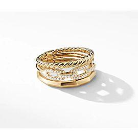 David Yurman Stax Narrow Ring with Diamonds in 18K Gold, 9.5mm