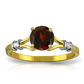 1.07 CTW 14K Solid Gold Garnet Rules Garnet Diamond Ring