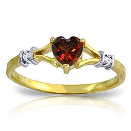0.47 CTW 14K Solid Gold Rings Natural Diamond Garnet