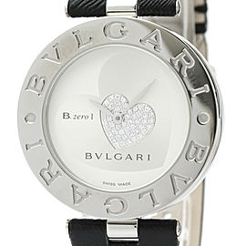 Polished BVLGARI B-zero1 Double Heart Diamond Steel Quartz Watch BZ35S