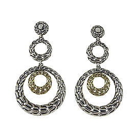 John Hardy Sterling Silver & 18K Yellow Gold Classic Chain Circle Drop Earrings