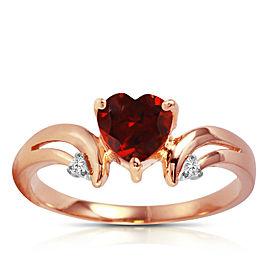 1.26 CTW 14K Solid Rose Gold Ring Diamond Garnet