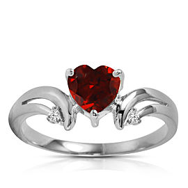 1.26 CTW 14K Solid White Gold Ring Diamond Garnet