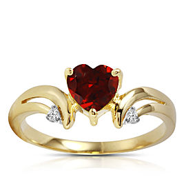 1.26 CTW 14K Solid Gold Ring Diamond Garnet
