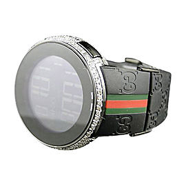 Gucci Mens Custom White Full I Digital Diamond 5.5 Ct Watch