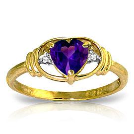 0.96 CTW 14K Solid Gold I Amethyst Love Amethyst Diamond Ring