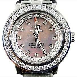 Breitling Aeromarine Pink Dial Colt Ocean Diamond 3 Ct Watch