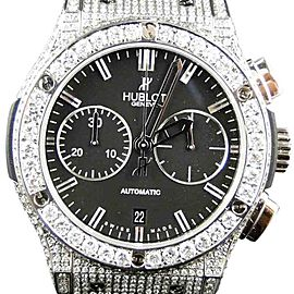 Hublot Big Bang Leather Band Genuine 10.5 Ct Diamond Mens 44mm Watch