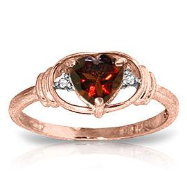 0.96 CTW 14K Solid Rose Gold Glory Garnet Diamond Ring
