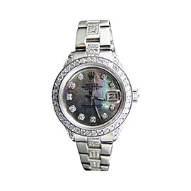 Rolex Datejust Jubilee Stainless Steel 8 Ct Diamond Black MOP Dial Ladies Watch