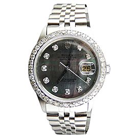 Rolex Stainless Steel 2.15Ct Diamond Black Dial Datejust Jubilee Mens Watch