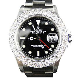 Rolex Mens 40mm Stainless Steel Explorer II Black Dial 6 Ct Diamond Bezel Watch