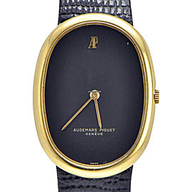 Audemars Piguet 18K Yellow Gold Leather Vintage Mens Watch