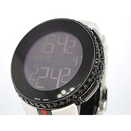 Gucci Mens White Full I Digital Ya114214 Black Diamond Watch