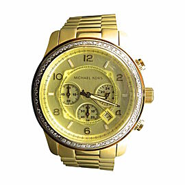 Micheal Kors Gold Stainless Steel with Custom Set Diamonds 1.75ct 45 mm Watch