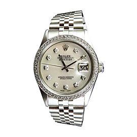 Rolex Datejust Jubilee Stainless Steel 2.15 Ct White Diamond 36mm Mens Vintage Watch