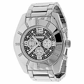 Jojo/Jojino MJ-1217 XL Big Face Stainless Steel 50 MM 0.25 Ct Diamond Mens Watch