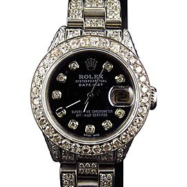 Rolex Stainless Steel Datejust Oyster 9 Ct Diamond Black MOP Dial Watch