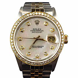 Rolex Datejust 18k Stainless Steel White MOP Diamond 2.5 Ct 36mm Watch