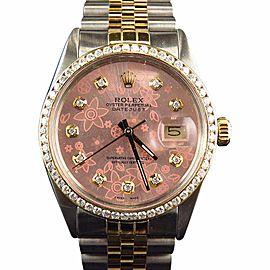 Rolex Datejust 18k Stainless Steel Jubilee Band Pink Diamond 2ct Watch