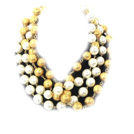 Chanel Gold Tone and Faux Pearl Necklace Multi Strand Choker