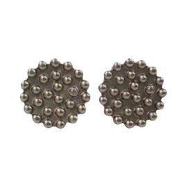 Chanel Silver Button CC Signature Logo Earrings