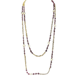 Chanel Sautoire in Gold Tone Metal Faux Pearl and Amethyst Gripoix Necklace
