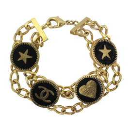 Chanel Gold Black Enamel With Hearts Stars CC Logo Double Chain Bracelet