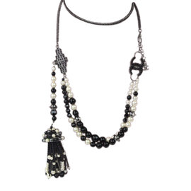 Chanel Necklace Gunmetal Silver Blak Beads Faux Pearl Tassel Charms