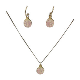 Chanel Necklace and Earring Matching Set Ivory Pink Enamel Lady Bugs
