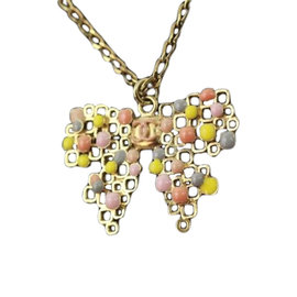 Chanel Gold Bow Necklace with Pastel Enamel in Pink Yellow Gray Peach