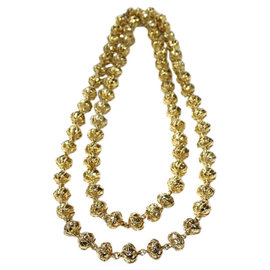 Chanel Gold Tone Byzance Bead Stread Byzantine Necklace