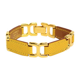 Hermes Gold Link Yellow Leather Bracelet