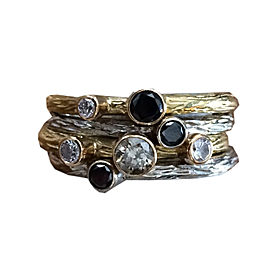 Sarah Graham Two Tone Gold Multi Color Diamond Stackable Pebble Ring