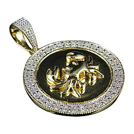 10K Yellow Gold Crab Cancer Zodiac Medallion Genuine Diamond Pendant