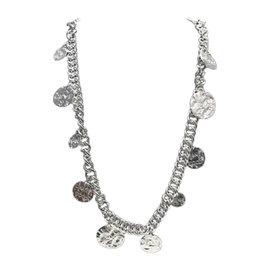 Chanel Silver Tone Peace & Love Chain Necklace
