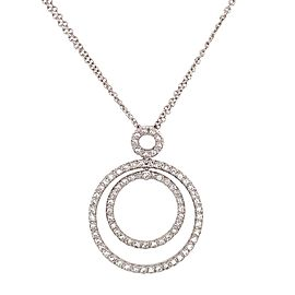18k White Gold Diamond Circle of Life Double Chain Necklace