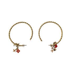 Louis Vuitton Gold-Tone Metal Signature Flower Heart Star Charm Hoop Earrings
