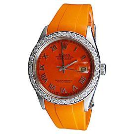 Rolex Datejust Orange Rubber Band 2.25 Ct Diamond WTCH-28072 36mm Watch
