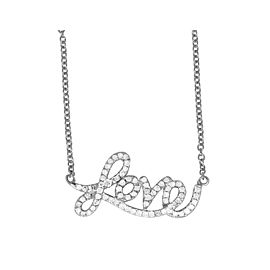 14K White Gold & 0.30ct Diamond Love Pendant Charm Necklace