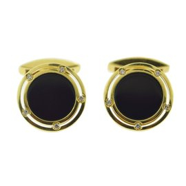 Damiani 18K Yellow Gold Onyx Diamond Cufflinks